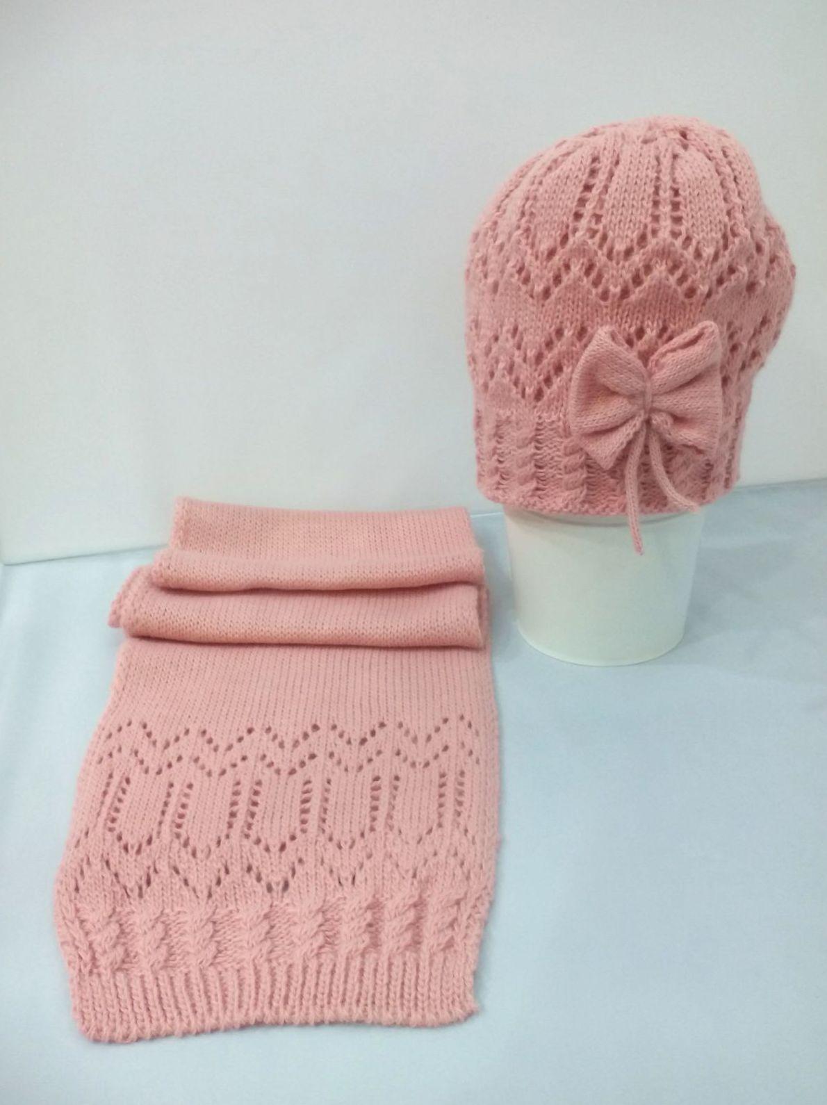 Conjunto de gorro y bufanda Lazo en rosa empolvado