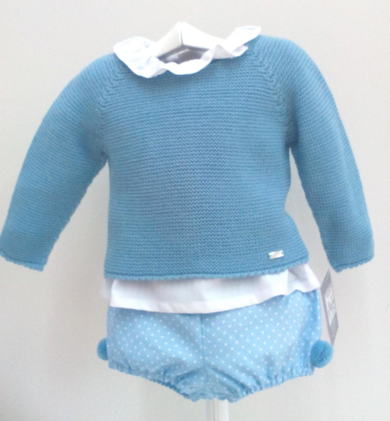 Conjunto de niño en azul empolvado de tres piezas de Yoedu