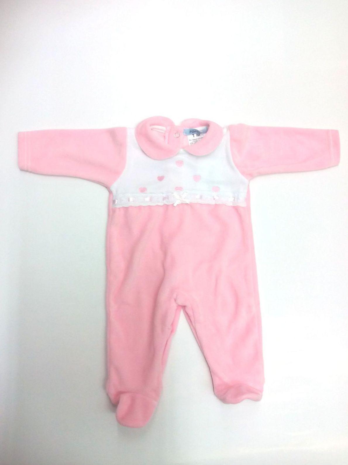 Pijama de bebé rosa Corazones de Popys