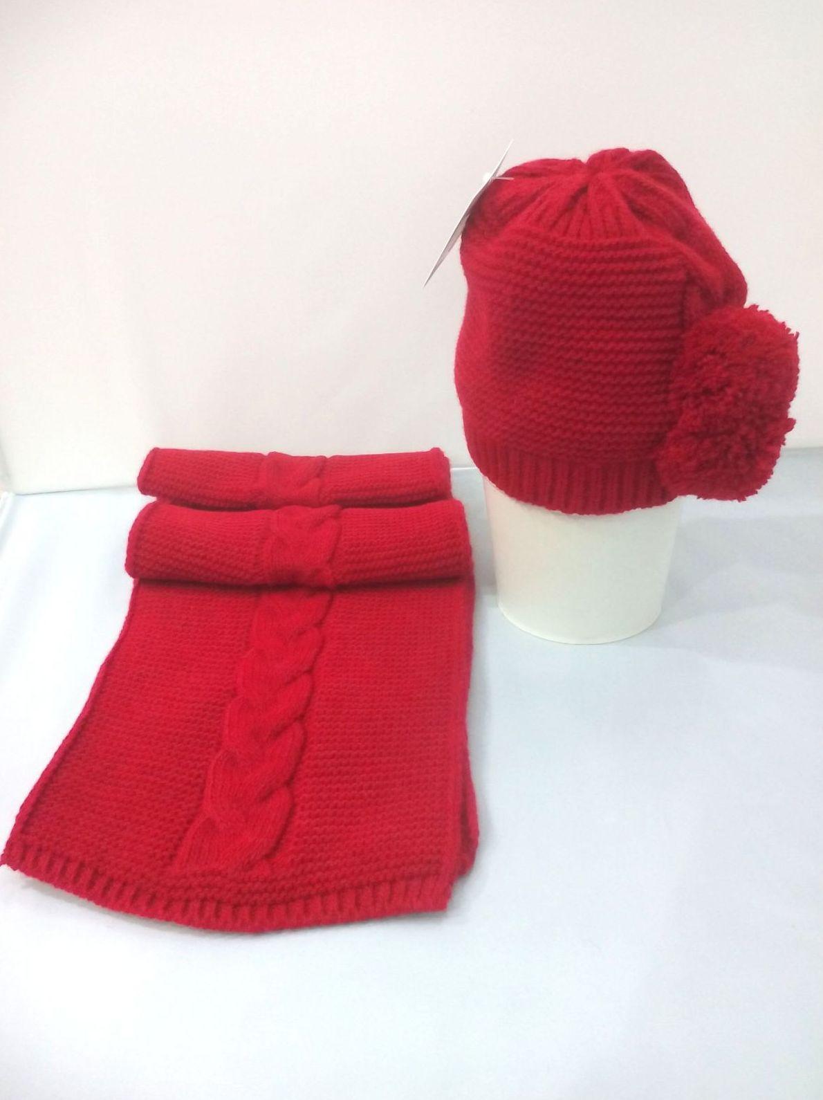 Conjunto de gorro y bufanda de niña Pompón en rojo