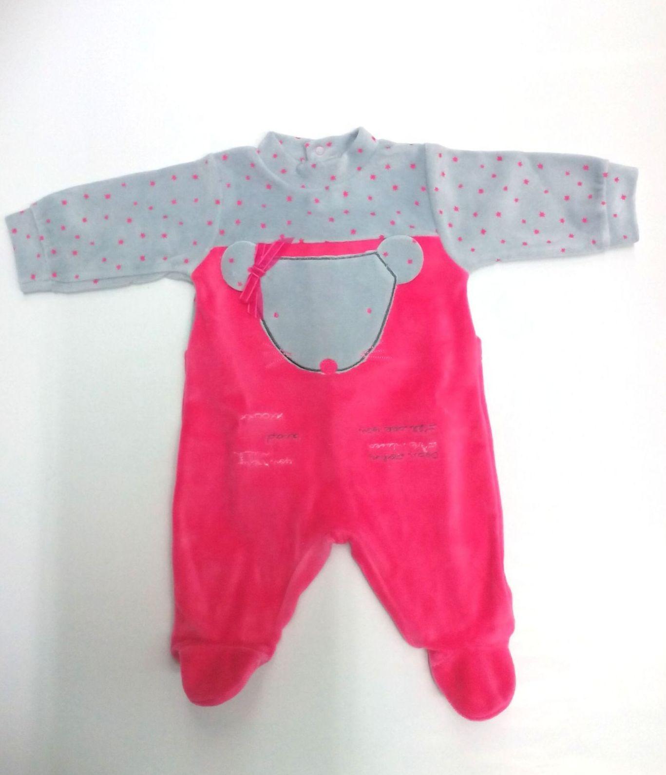 Pijama bebé rosa con gris Ratita de Piruleta