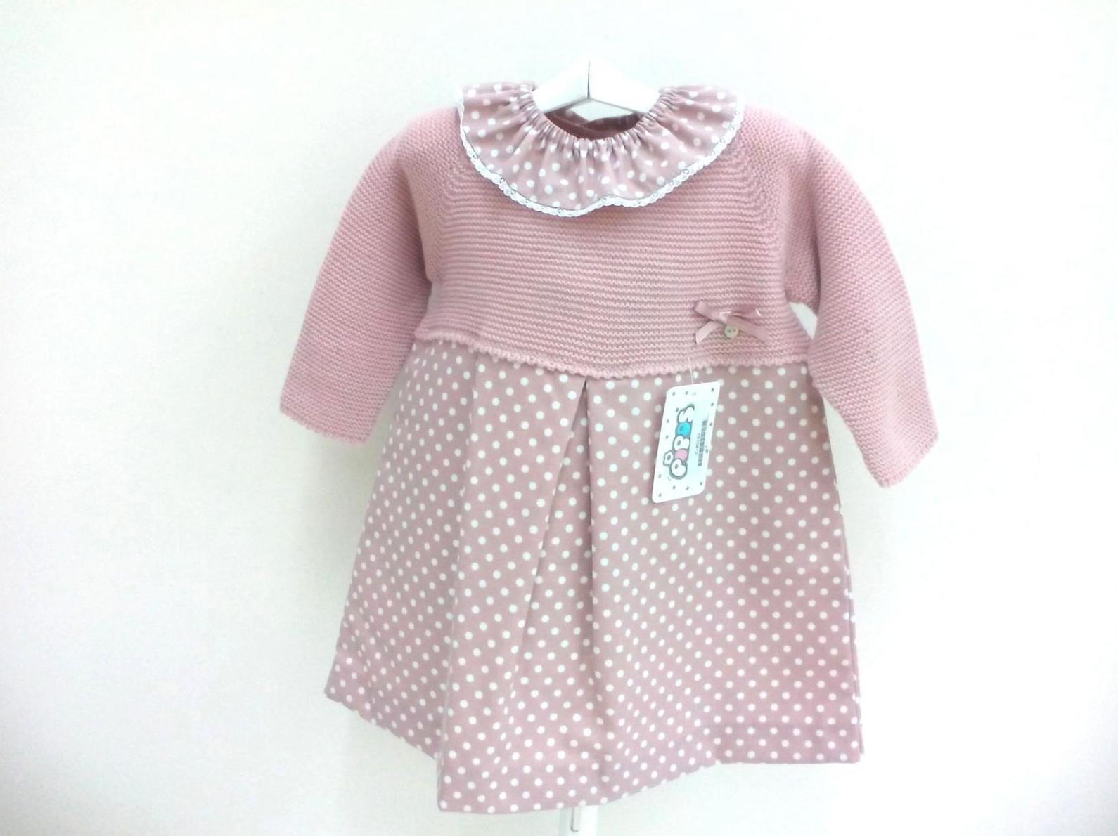 Vestido para niña en rosa empolvado de Pipos