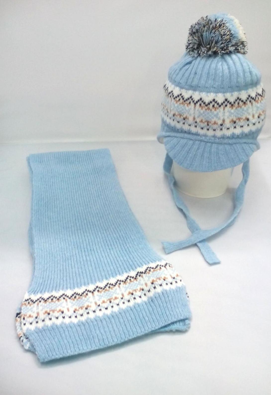 Conjunto de niño de gorro y bufanda en azul con greca de Jose Luis Navarro