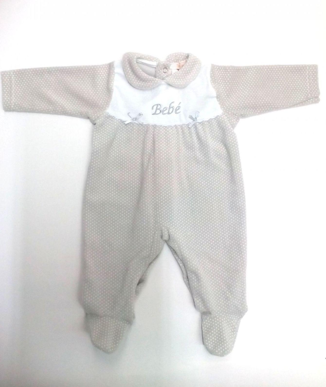 Pijama bebé motas gris Bebé de Popys