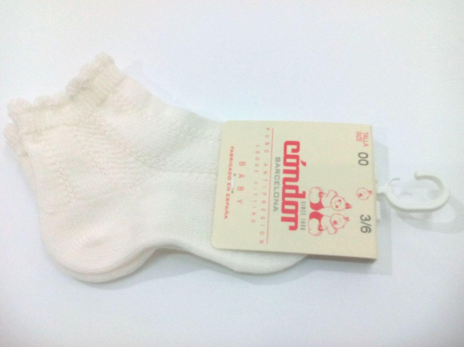 Calcetines cortos labrados marfil de Cóndor