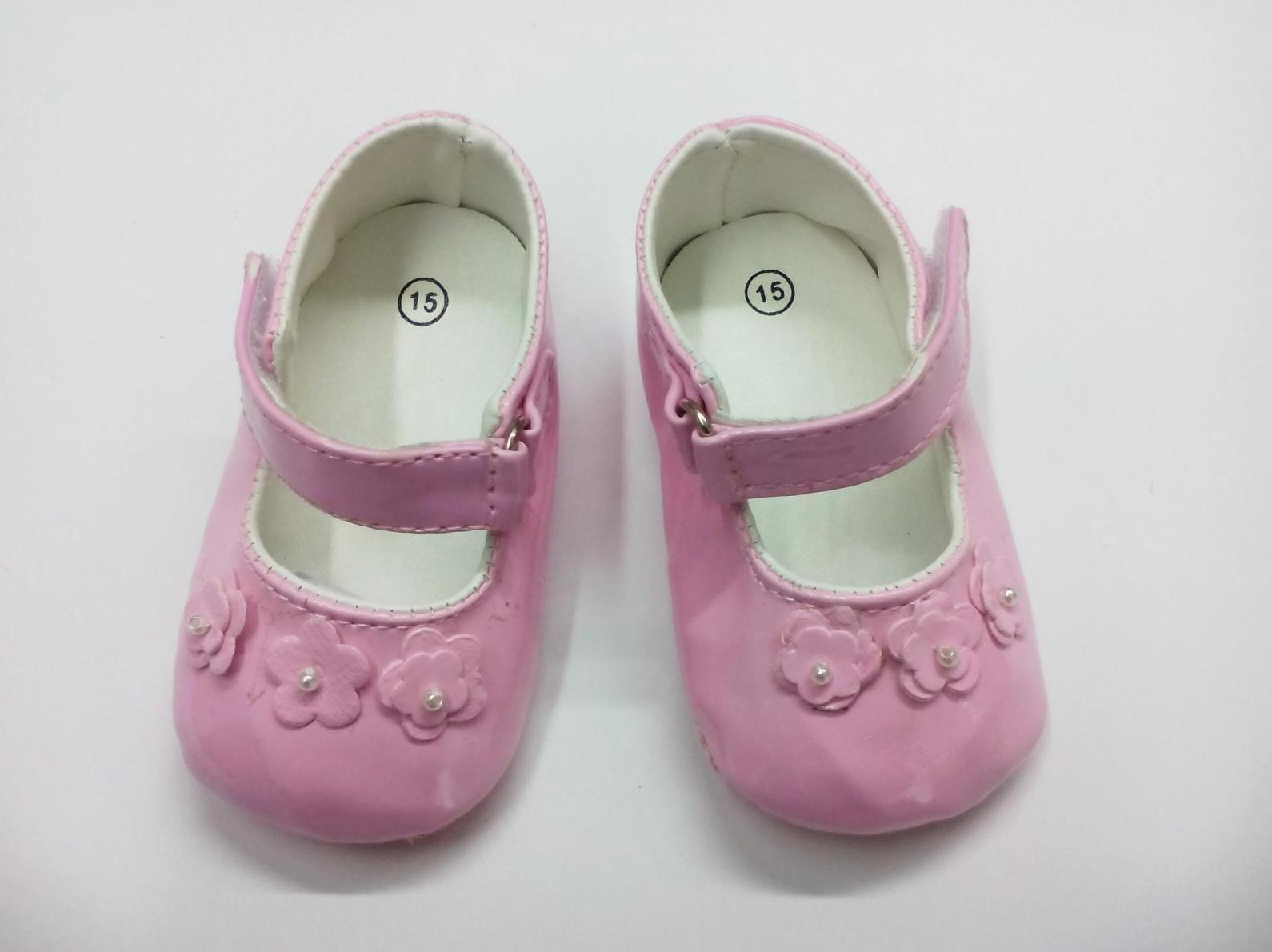 Zapatos de bebé niña sin suela rosas con flores