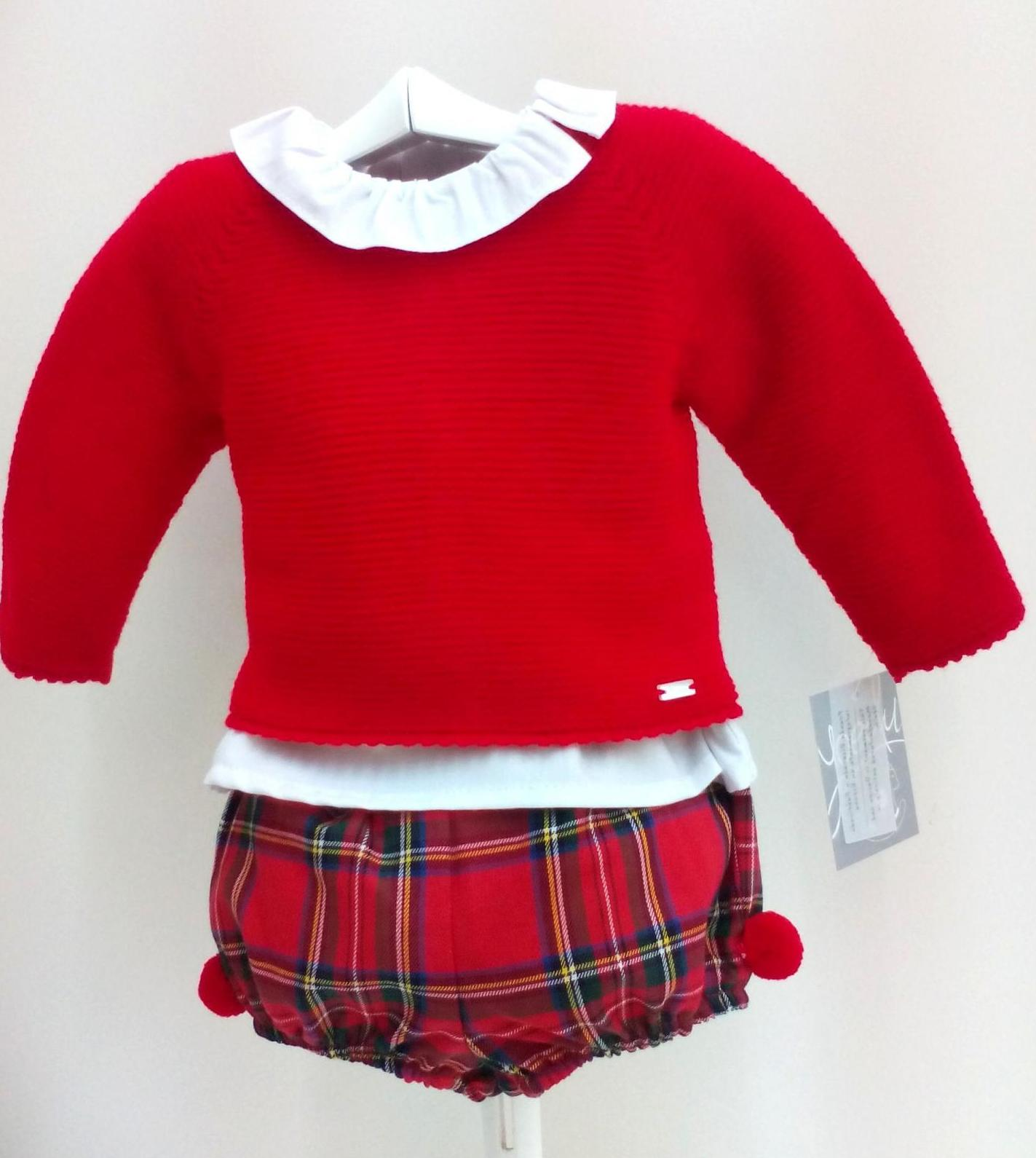 Conjunto de tres piezas de niño escocés rojo de Yoedu