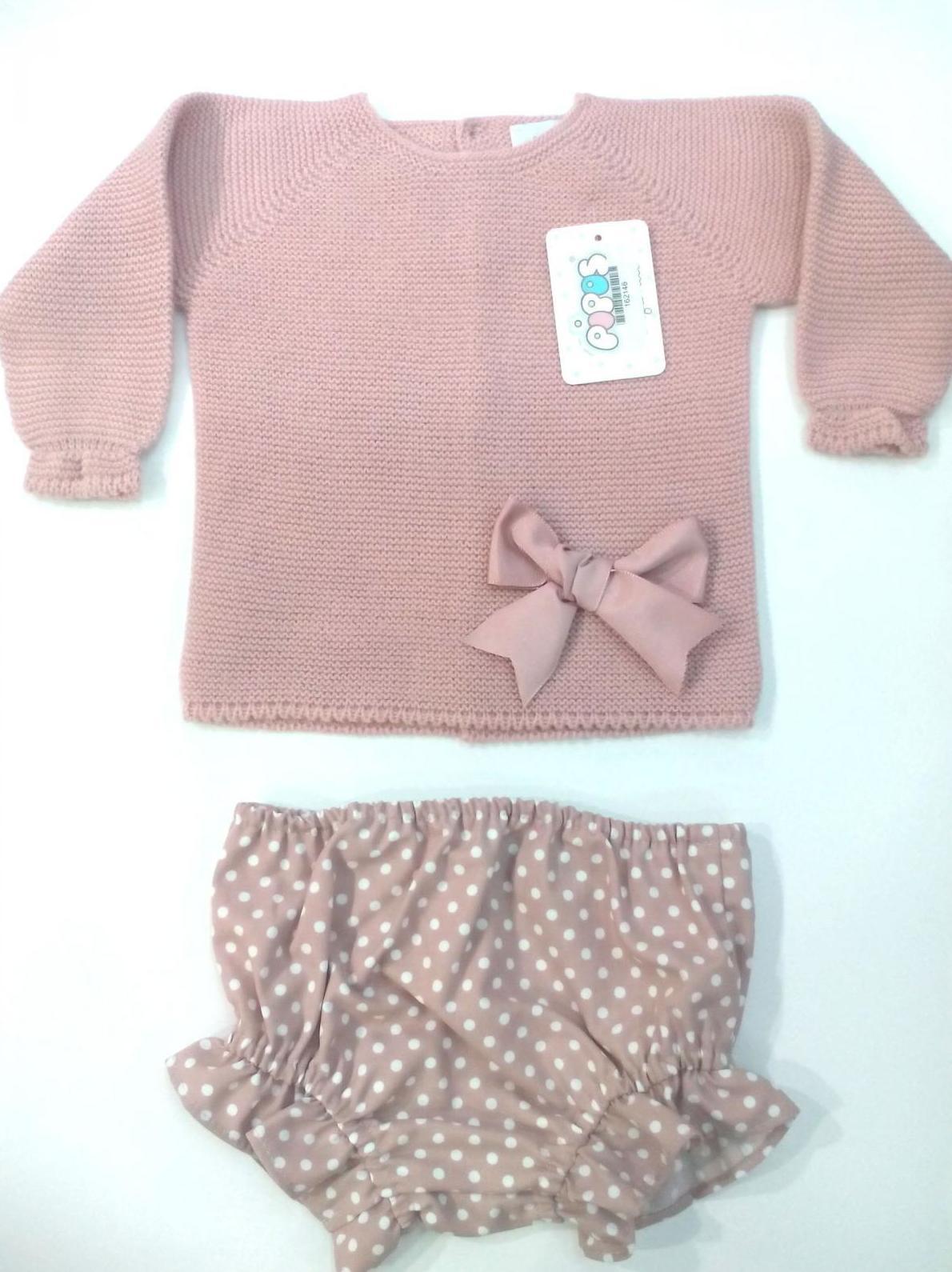 Conjunto para niña en rosa empolvado de Pipos