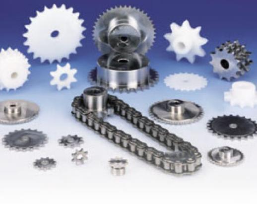 Cojinetes de todo tipo (axiales, de fuerza, temperatura, etc.) y piñones de muestra con cadena (normal, doble, de arrastre, de acero inoxidable, etc.)