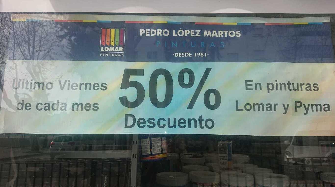 50% de descuento en Pinturas Lomar y Pyma último viernes de mes en Pinturas Pedro López Martos Marbella