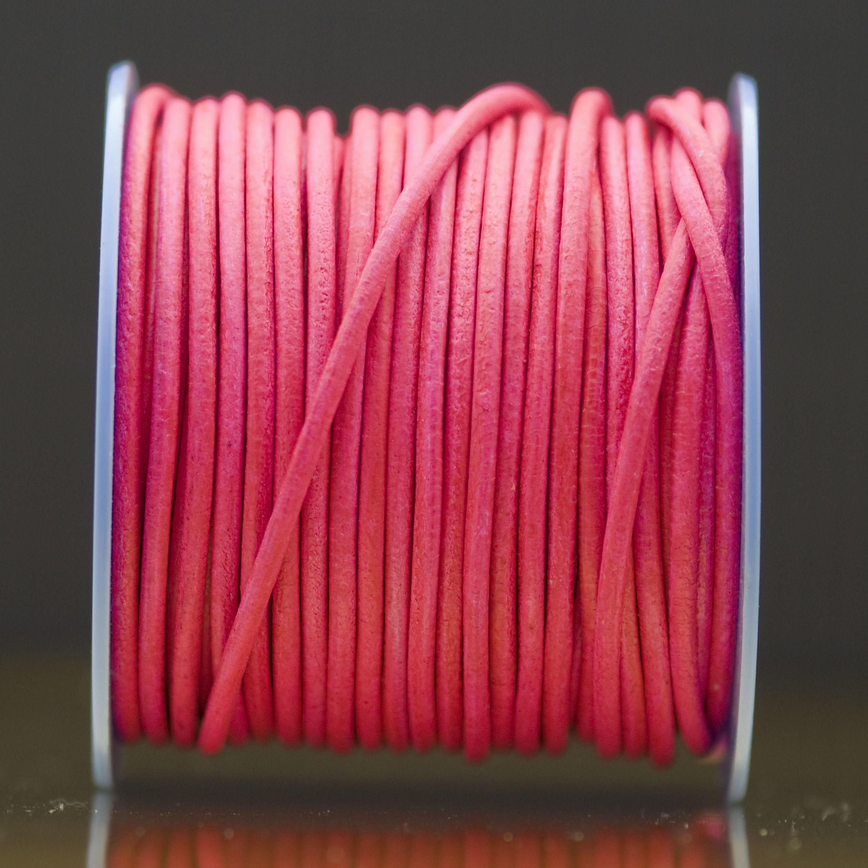 Cordón de Cuero Rosa Fluorescente