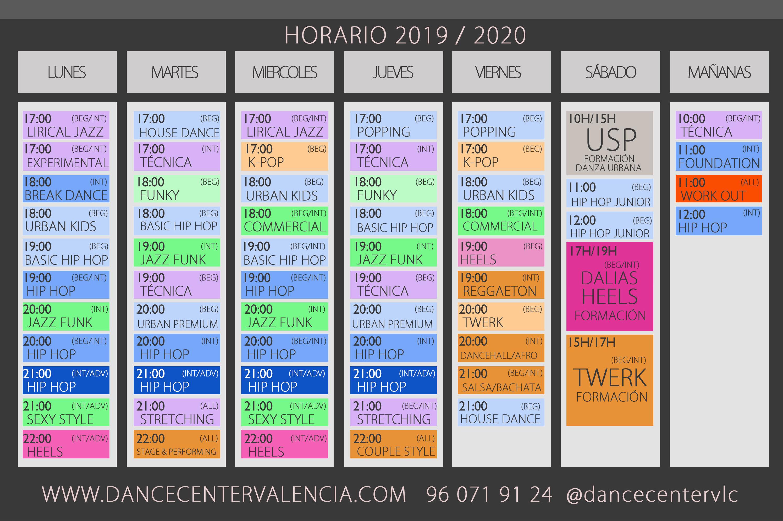 HORARIOS CLASES: Clases y Campamentos de Dance Center Valencia