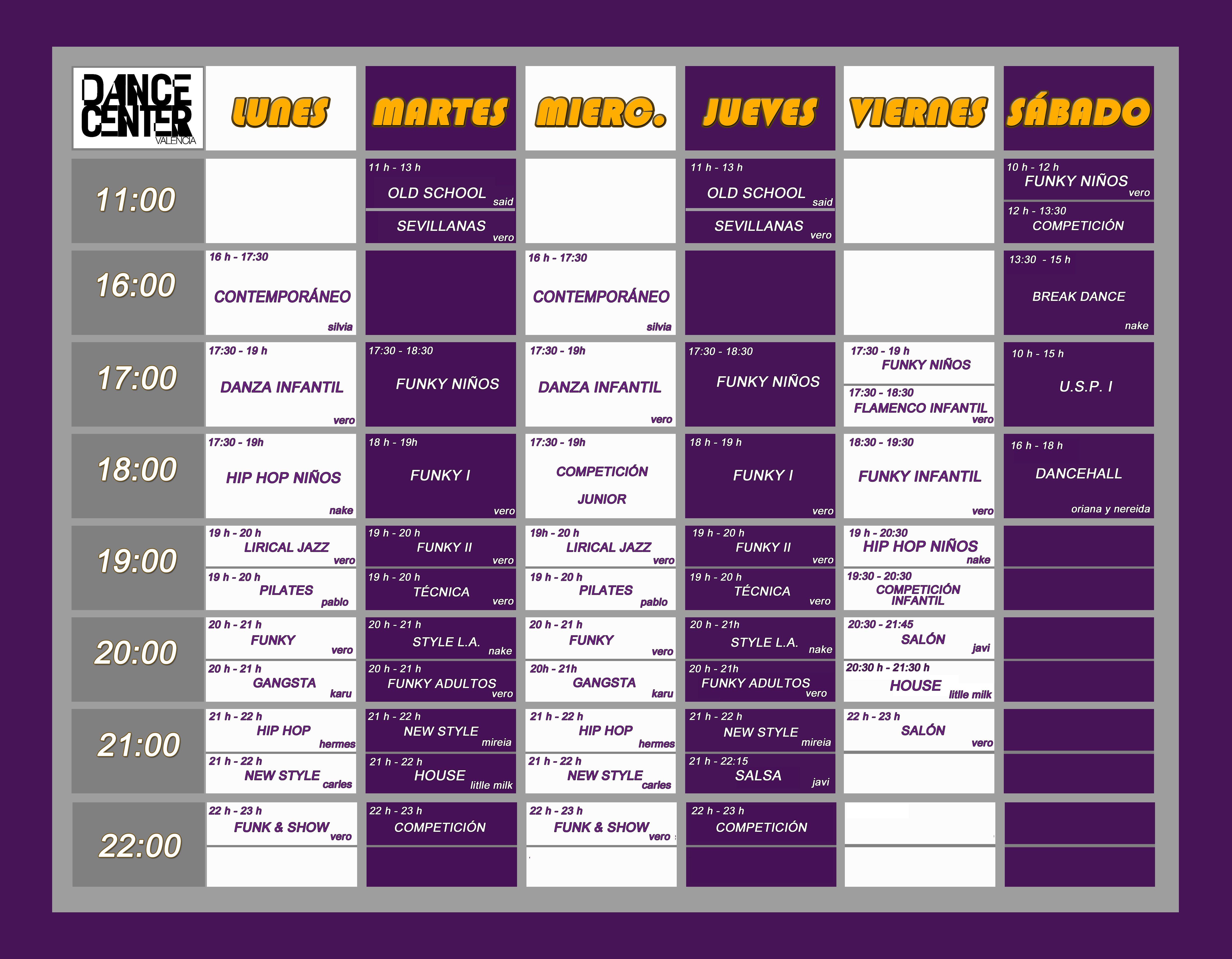 Horario Diciembre Dance Center