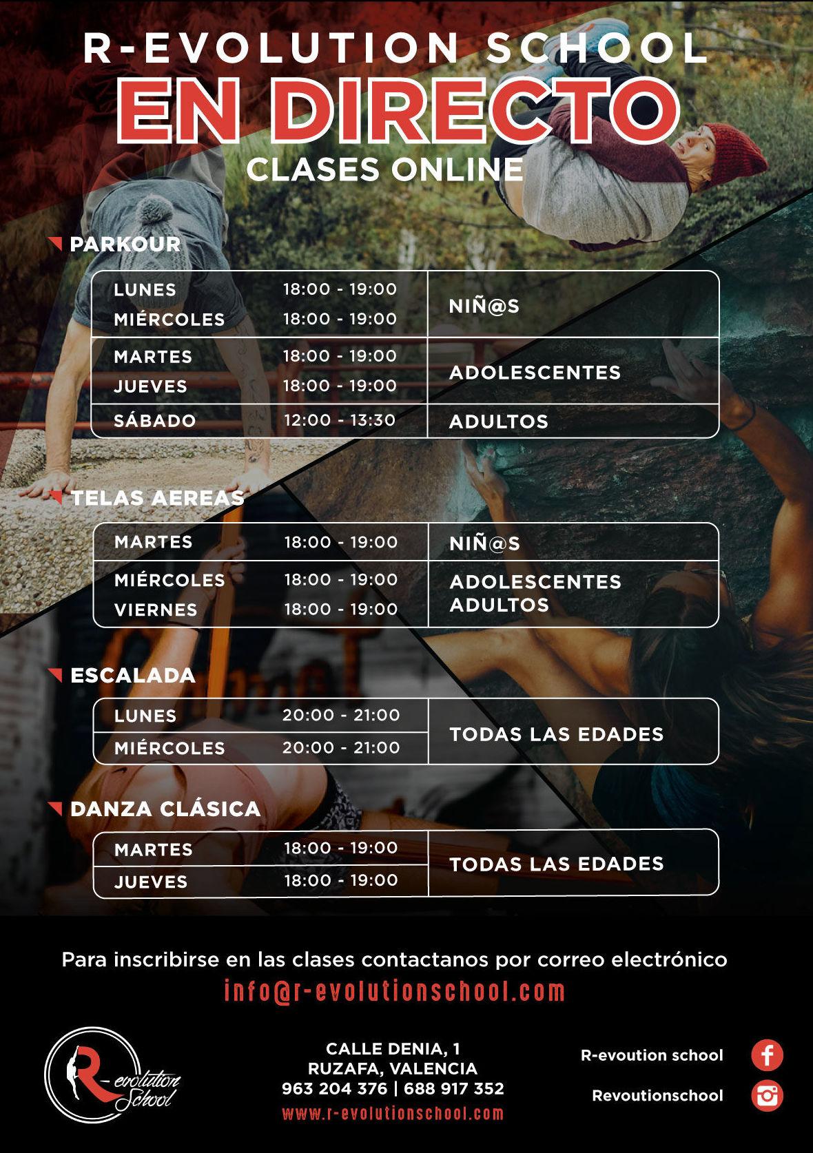 CLASES DE PARKOUR, TELAS Y OTRAS ACTIVIDADES ONLINE: Actividades y cursos de R-evolution School
