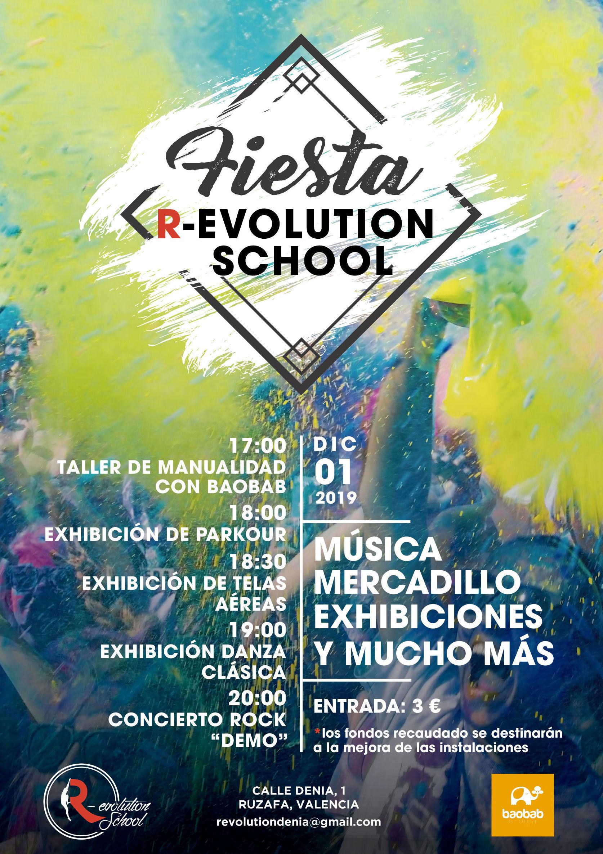 FIESTA EN REVOLUTION SCHOOL. EXHIBICIÓNES, MERCADILLO Y MÚSICA