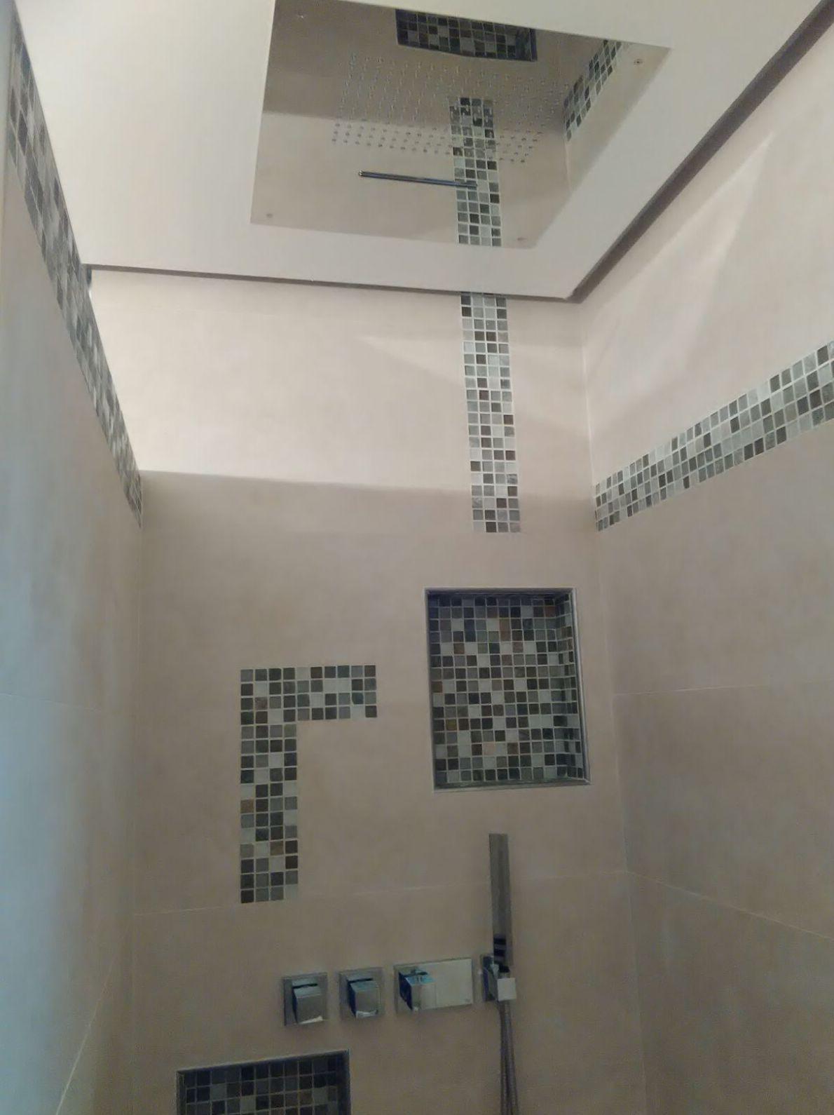 Baño con ducha en el techo