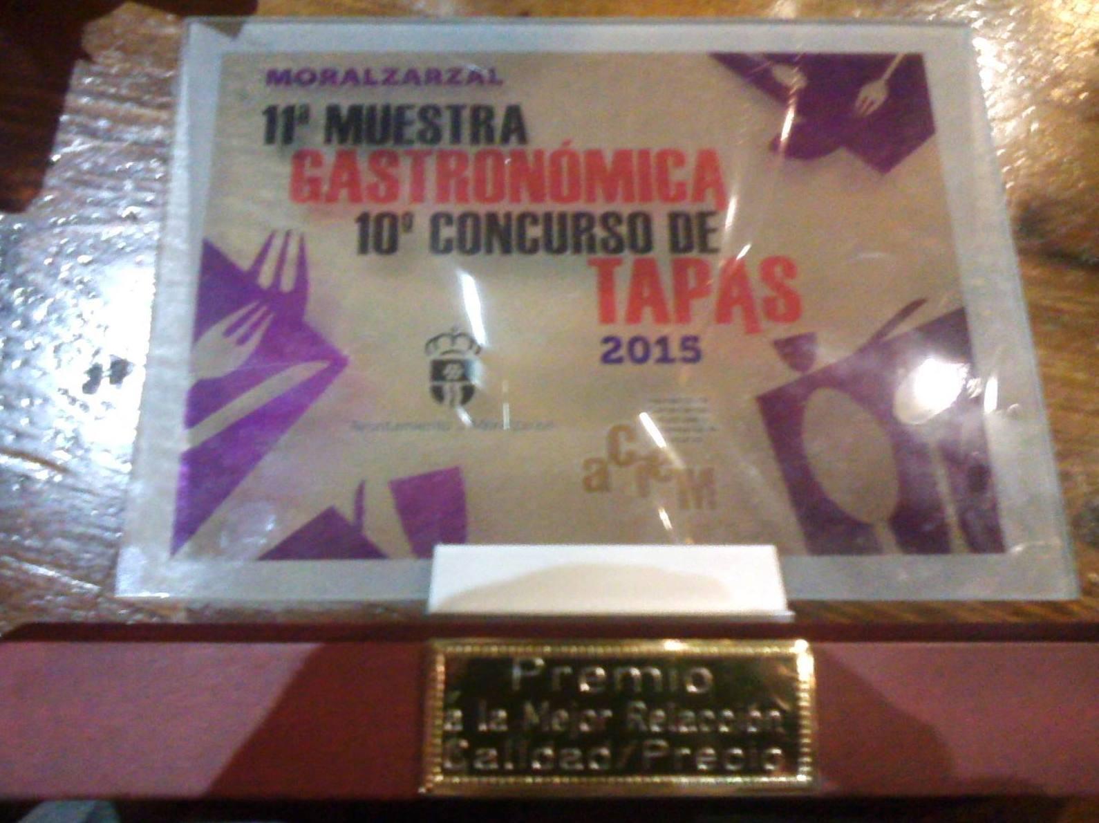 Premio a la mejor relación calidad/precio Jornada Gastronomica de Tapas 2015
