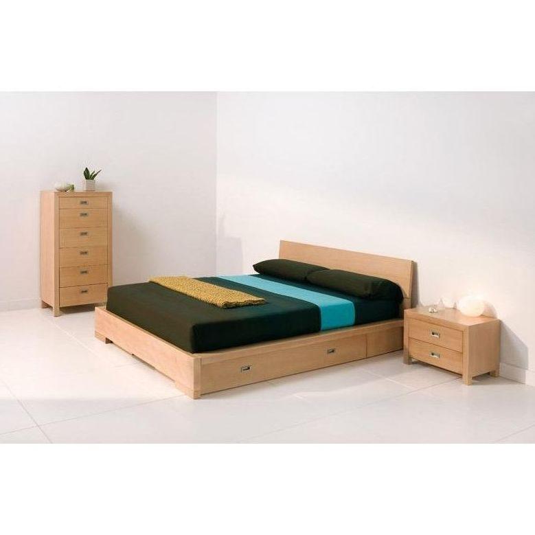 Conjunto de cama con cajones y cómoda