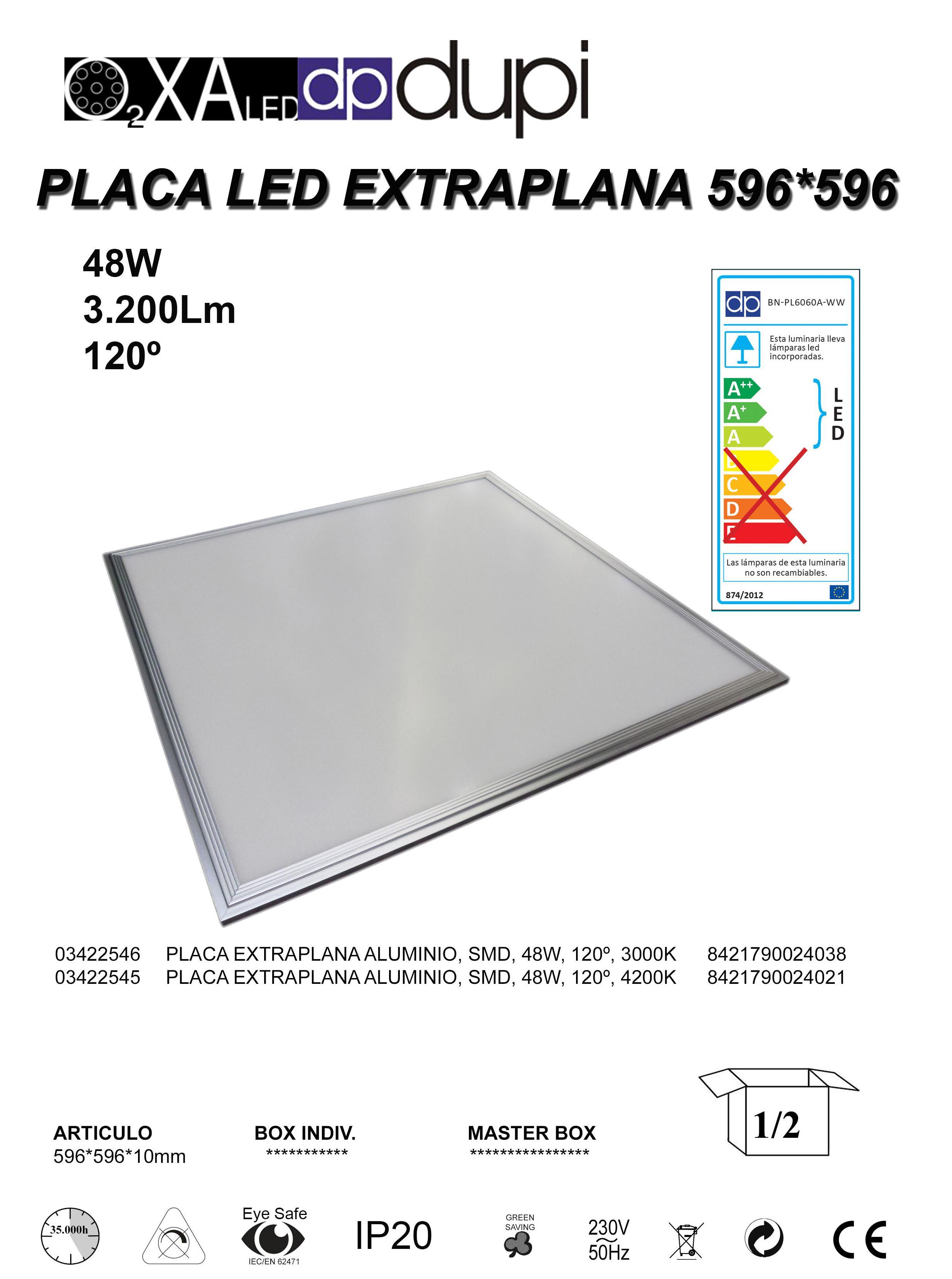 PANEL LED 48W montaje en techo desmontable.