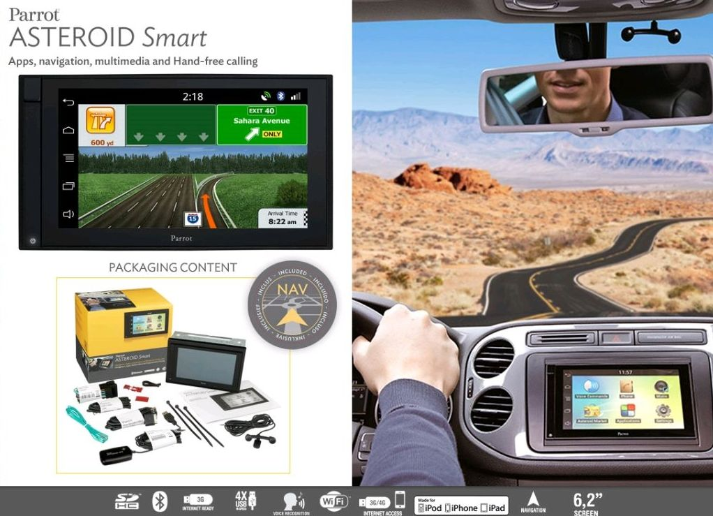 Parrot Asteroid Smart, ultima generación de manos libres bluetooth con Autoradio multimedia  doble din.