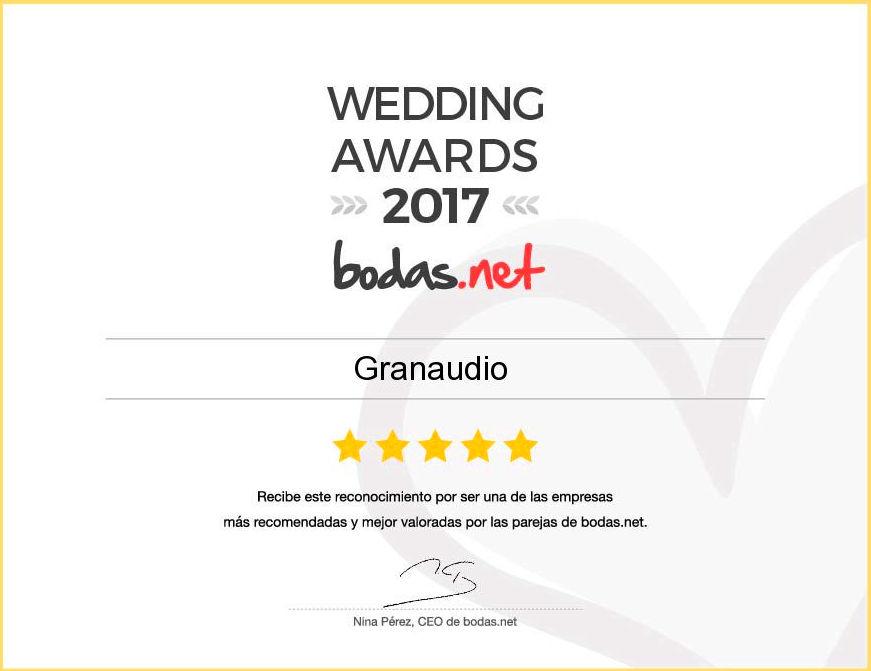 Granaudio ha recibido el galardón Wedding Awards 2017 en la categoría Música