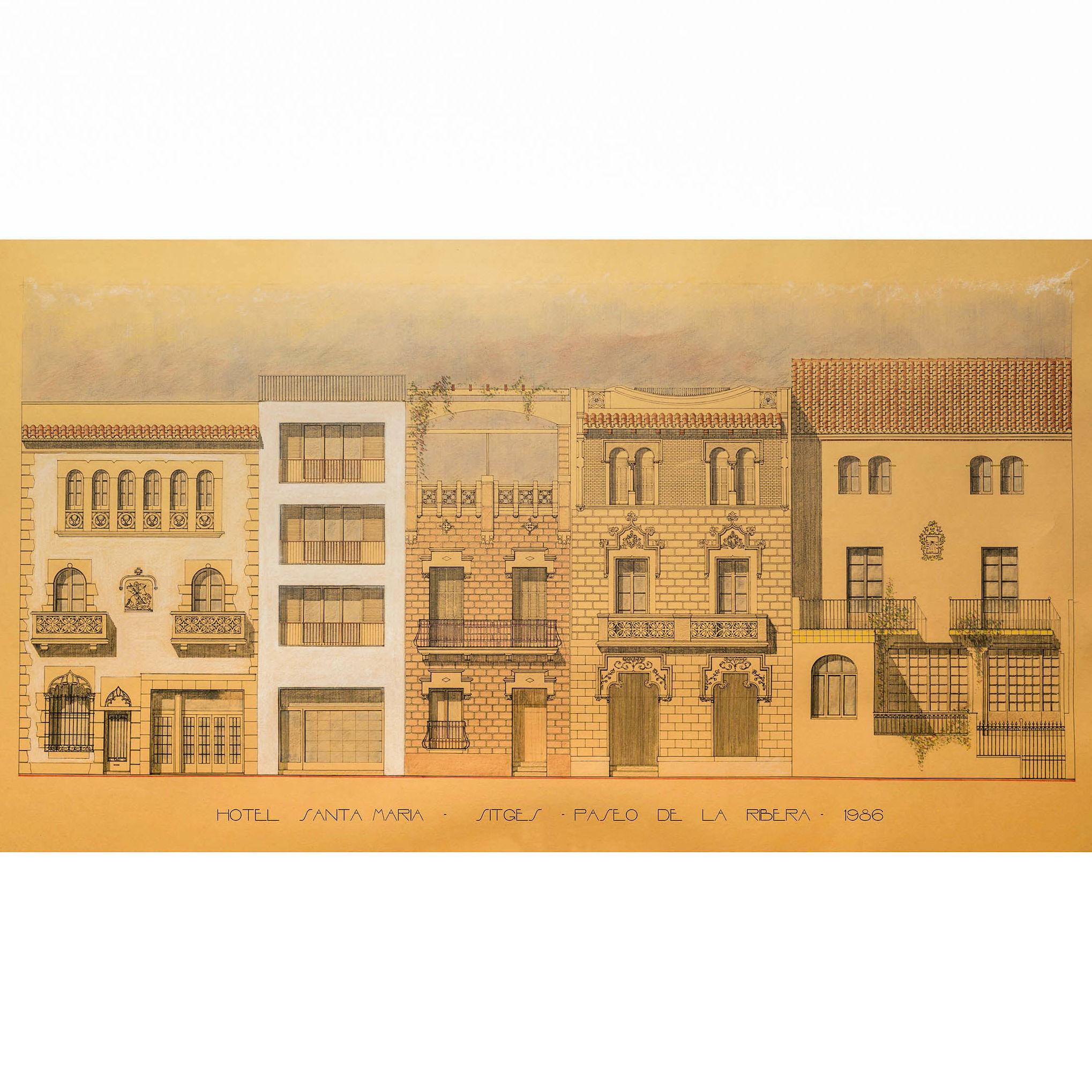 Hotel Santa Maria   #paseodelaribera #sitges #fpmarquitectura #1986 #acuarela watercolor