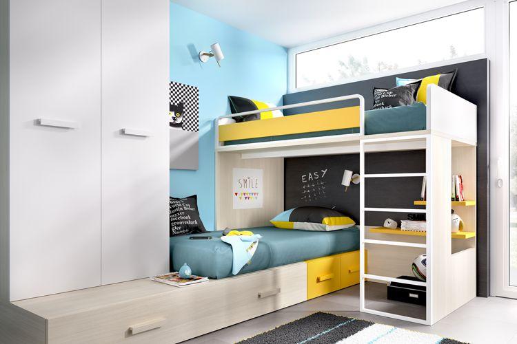 Habitación juvenil con muebles de colores