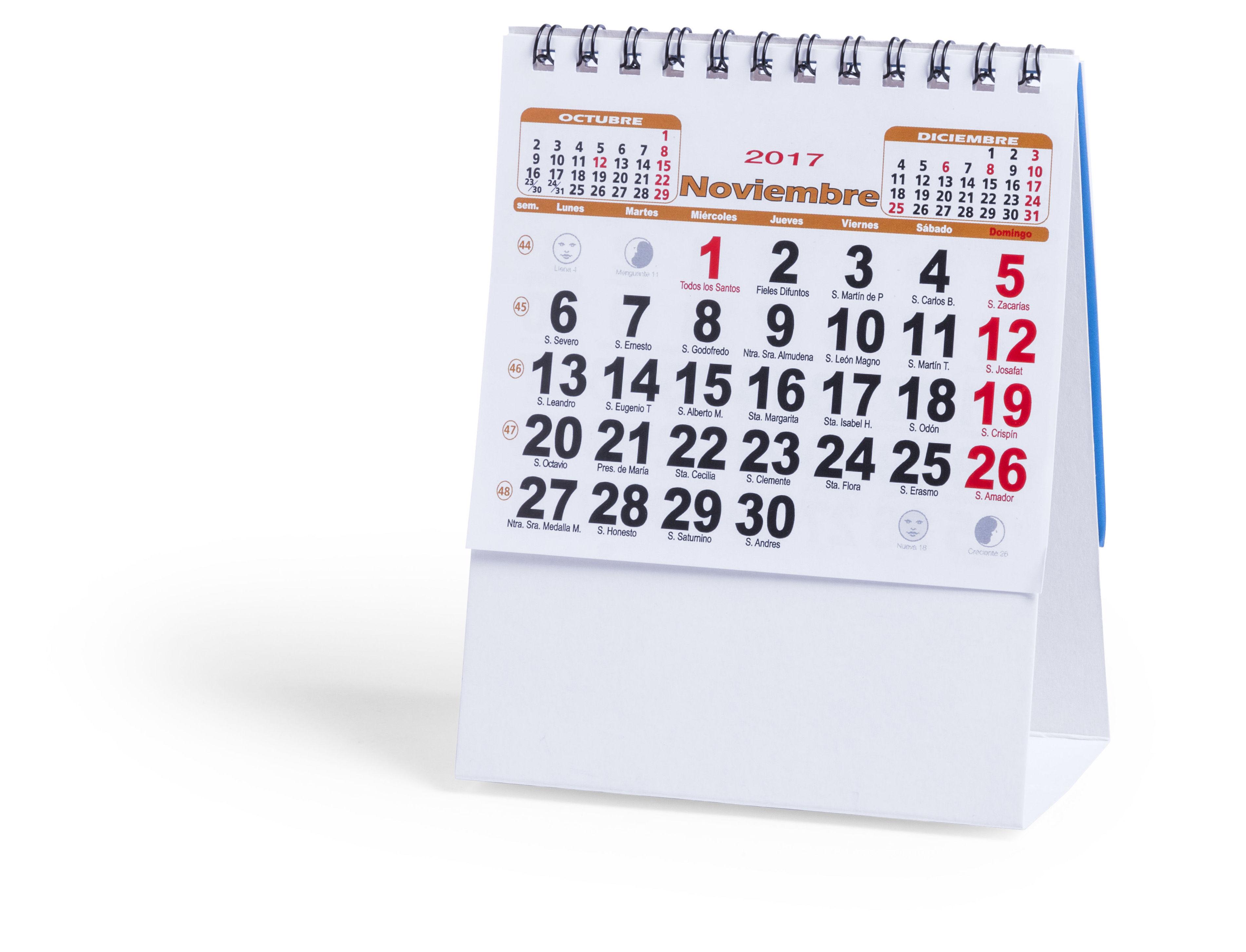 Calendarios sobremesa, con espacio para imprimir tus datos y logotipo