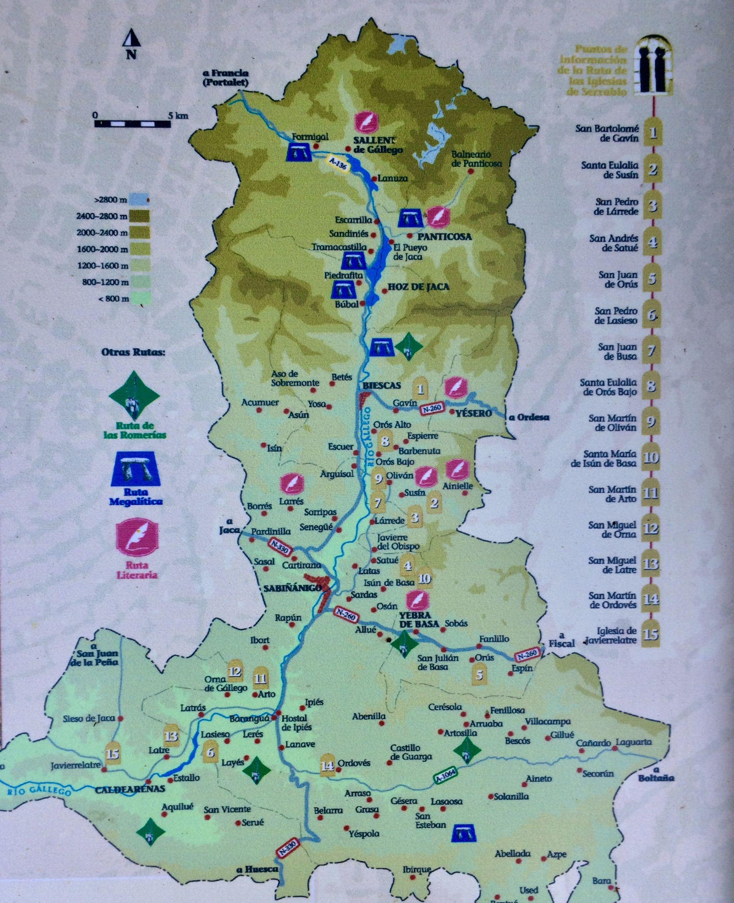 Mapa ruta iglesias del Serrablo.