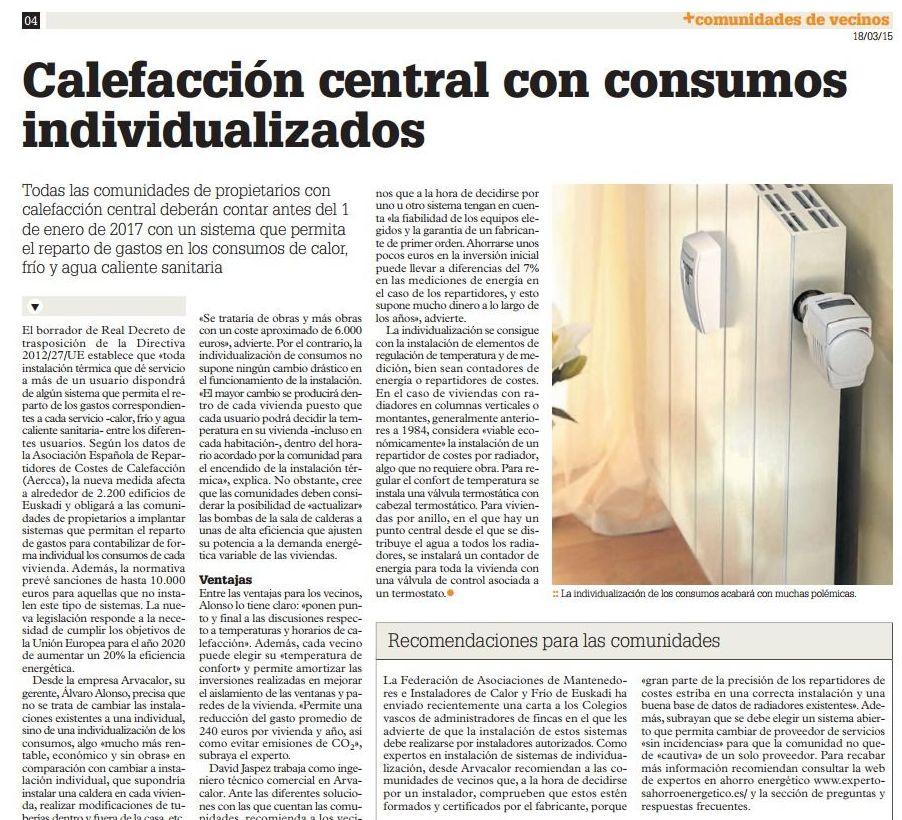 Calefacción central con consumos individualizados