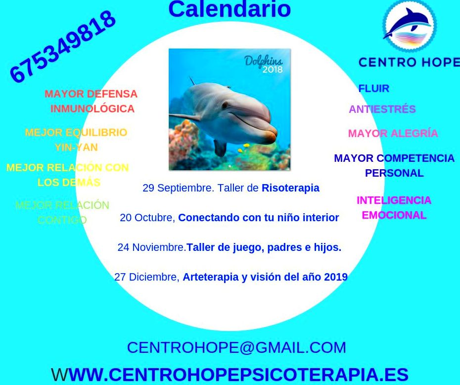 Calendario cursos Centro Hope-psicoterapia Centro Hope
