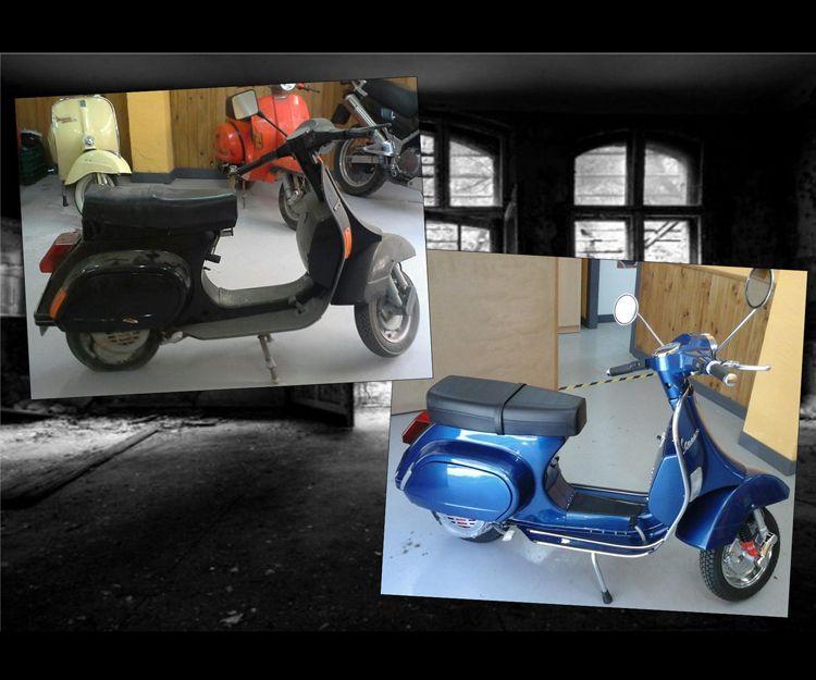 Antes y después restauración de Vespa PK75xl