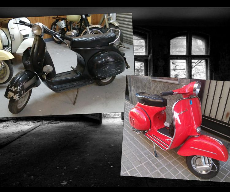 Antes y después restauración de Vespa 125L