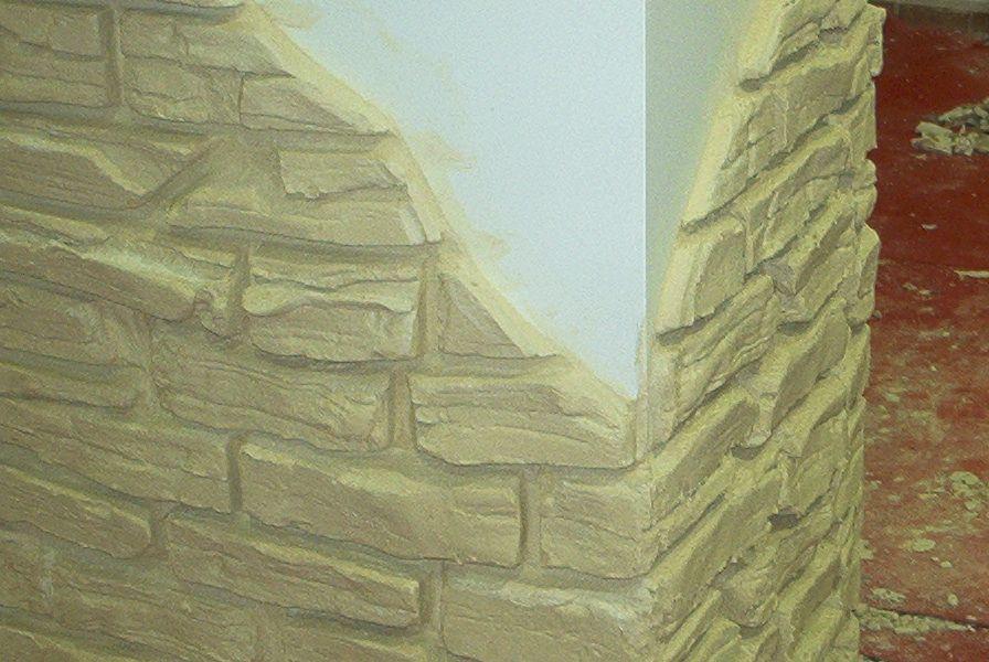 Imitación de ladrillo sobre columna