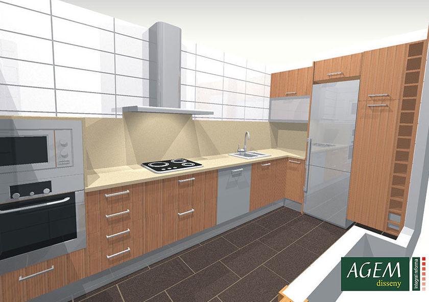 Proyectos 3D de reformas de cocinas en Sants - Montjuïc, Barcelona