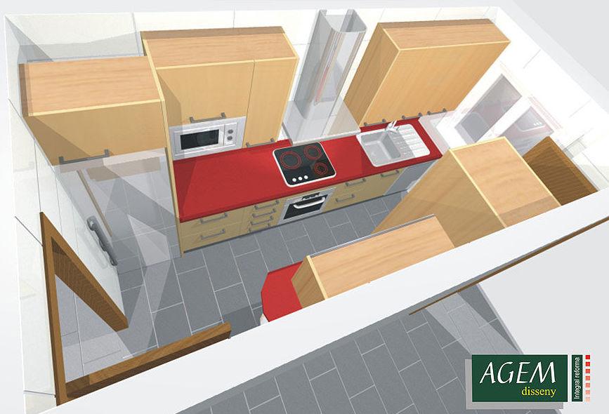 Proyectos 3D de reformas de cocinas en El Eixample, Barcelona