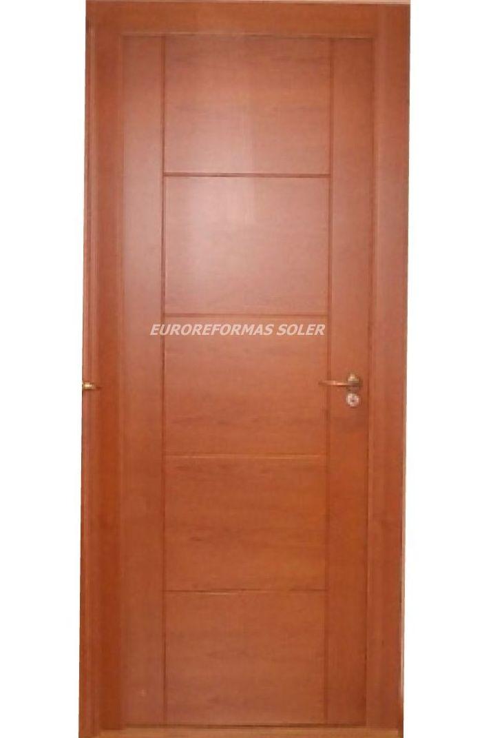 Puerta blindada de 16 puntos en color cerezo cat logo de - Puertas con cristales de colores ...