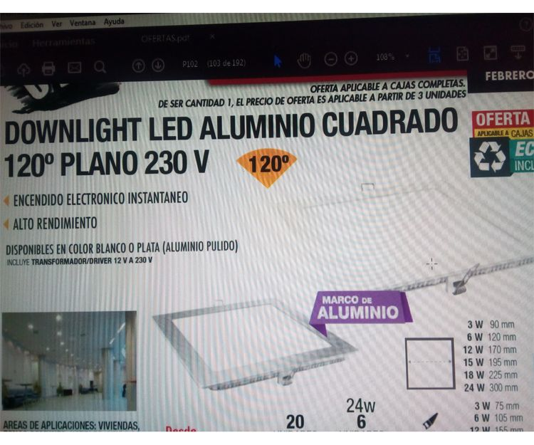 Downlight Led de aluminio cuadrado