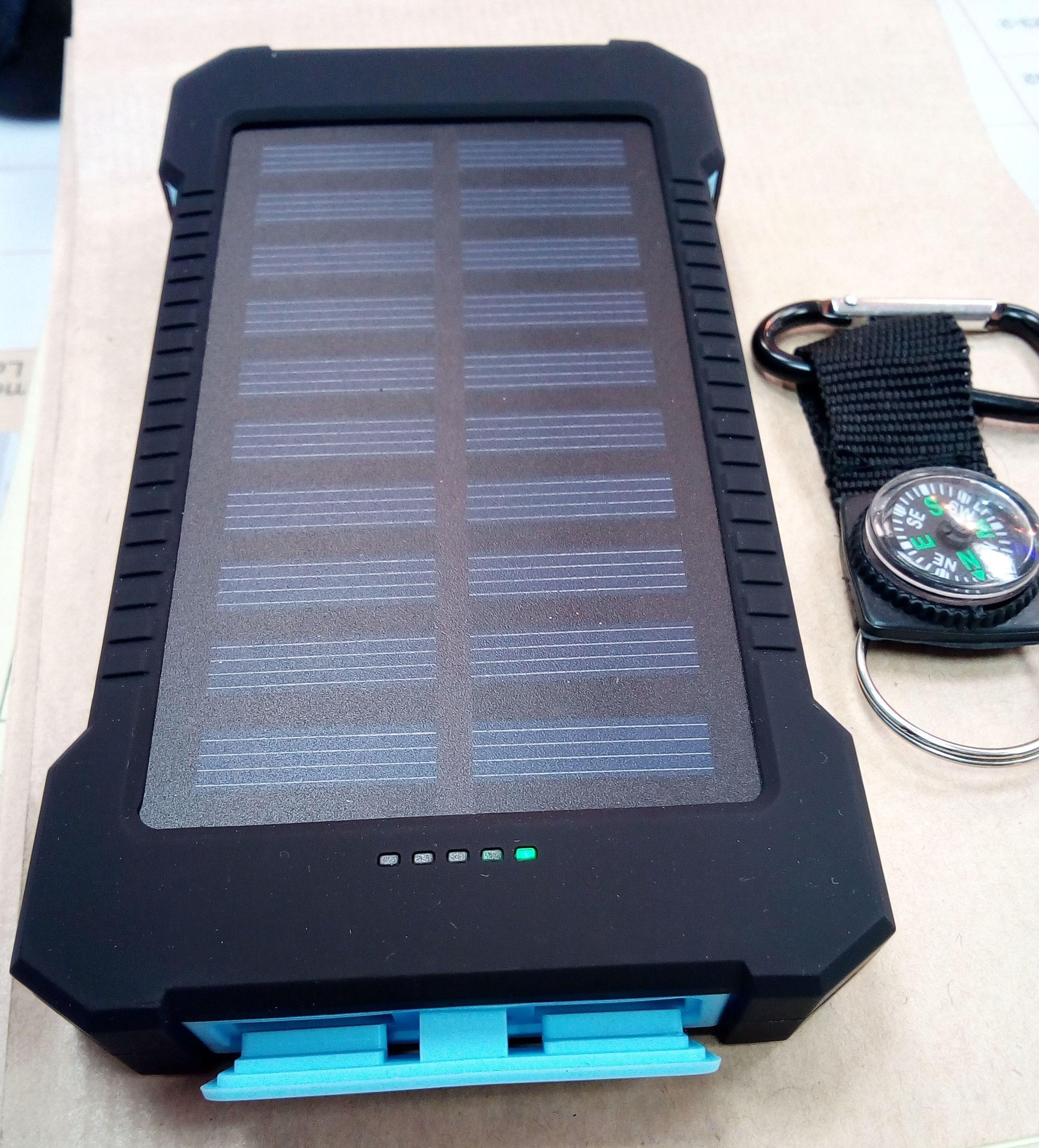 Batería solar portátil, 10.000 mA 2 USB