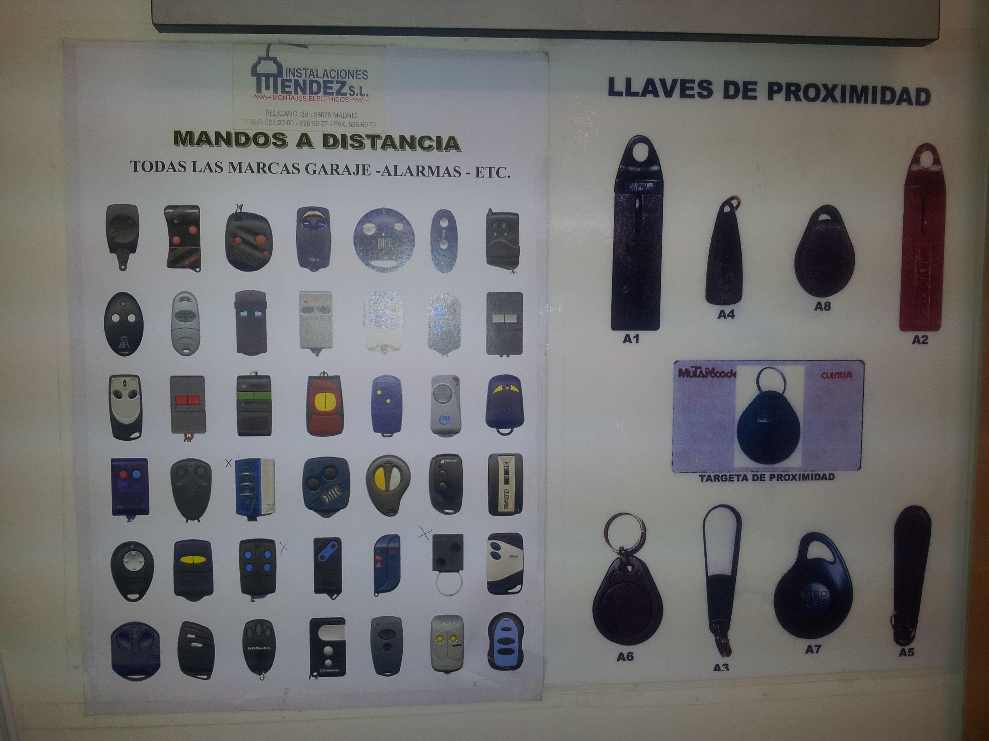 MANDOS A DISTANCIA, LLAVES DE PROXIMIDAD Y LLAVES MAGNETICAS