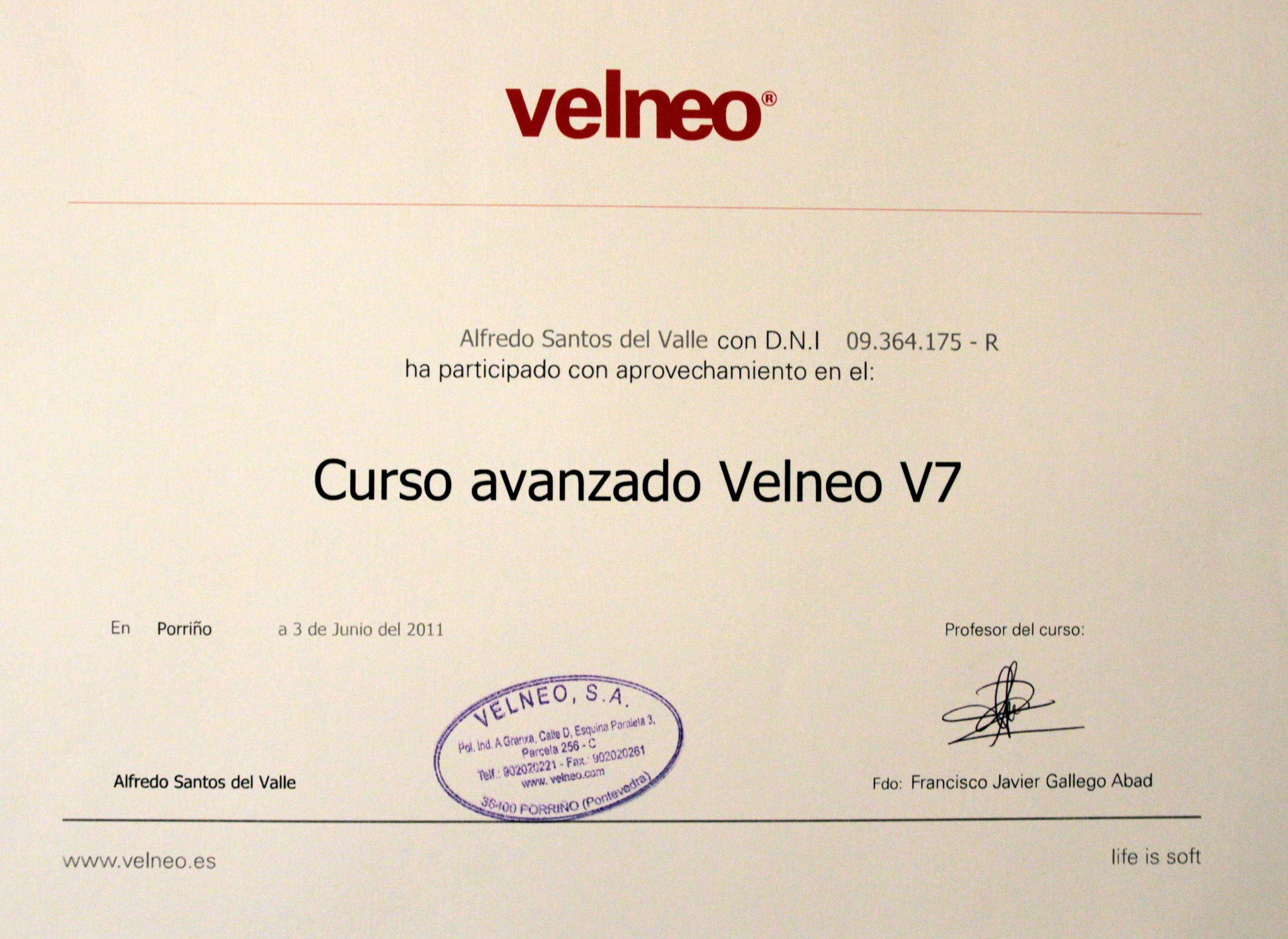 Certificado curso avanzado