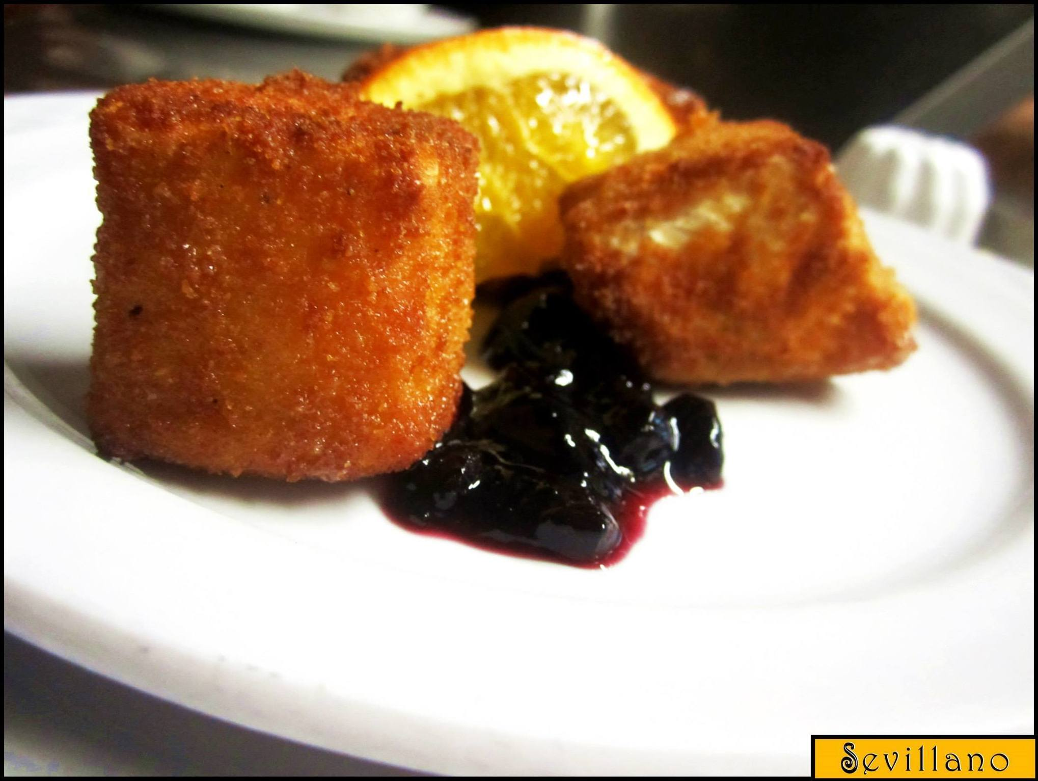 Fried camembert cheese with jam