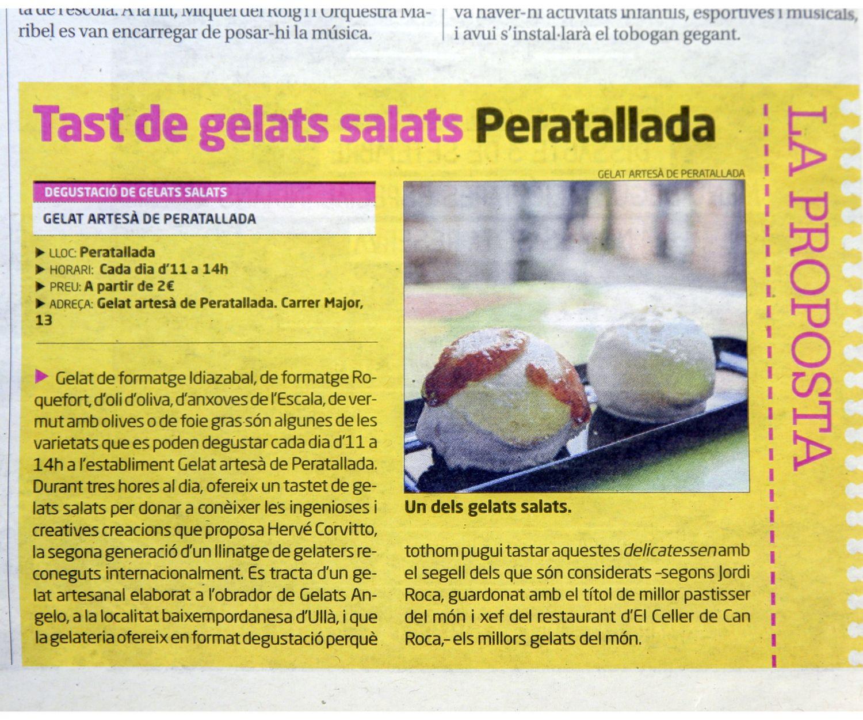 Degustación de helados salados en Gelat Artesà de Peratallada