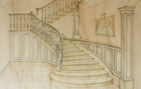 Boceto de escalera en Sabadell, Barcelona