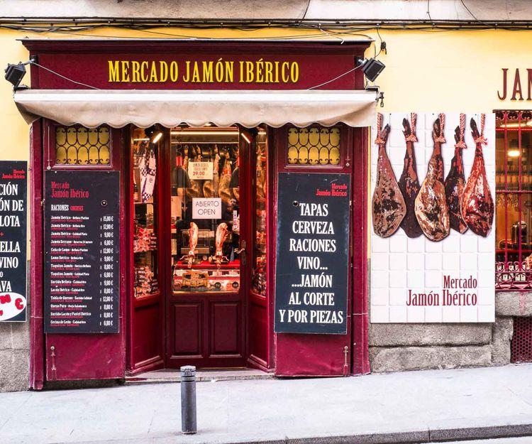 Tienda de jamón ibérico en Madrid