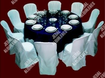 Mesa redonda azul-blanco