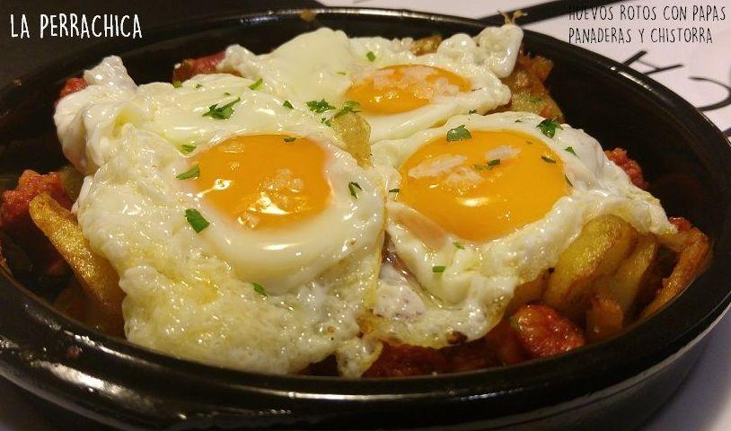 Huevos Rotos con chistorra de Navarra