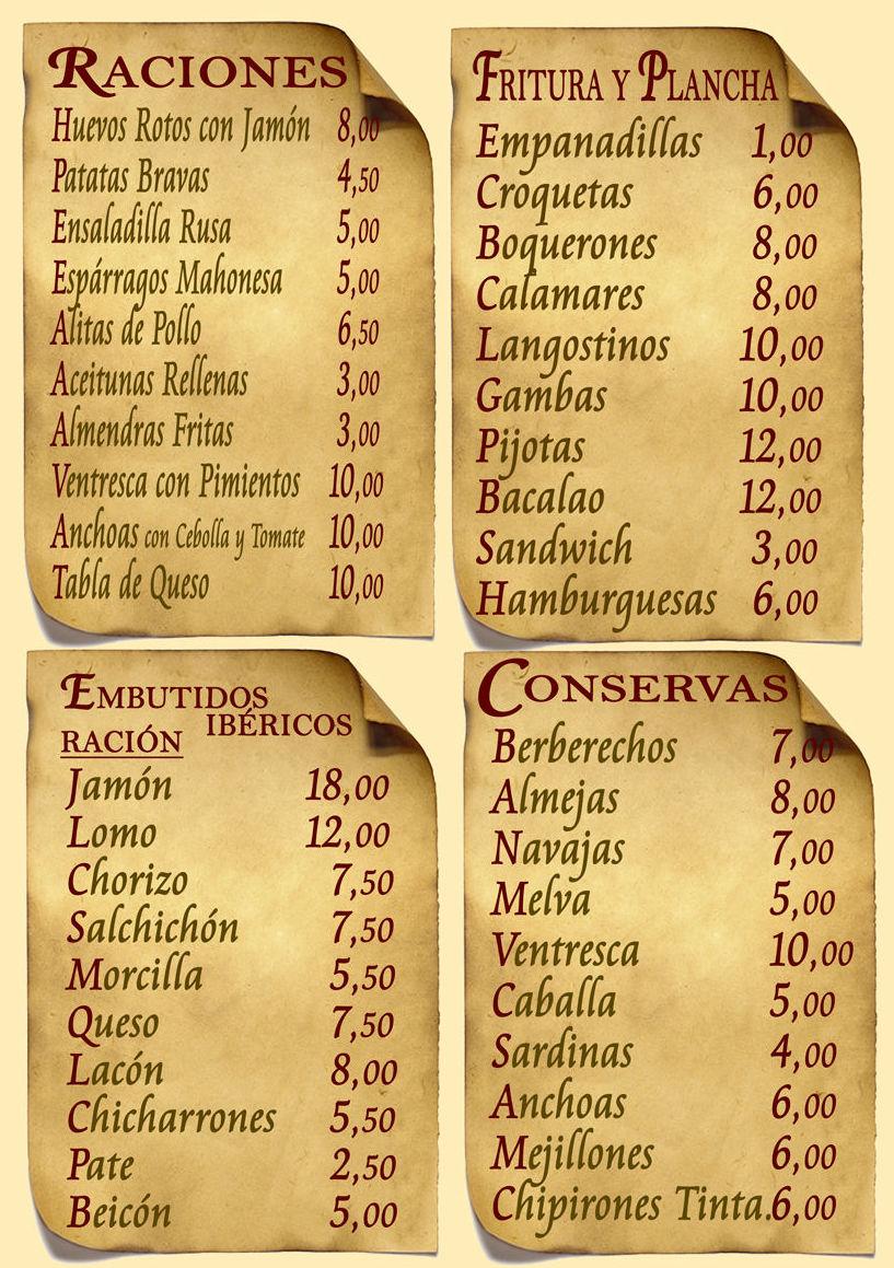 Carta Restaurante Bodegón Ciri