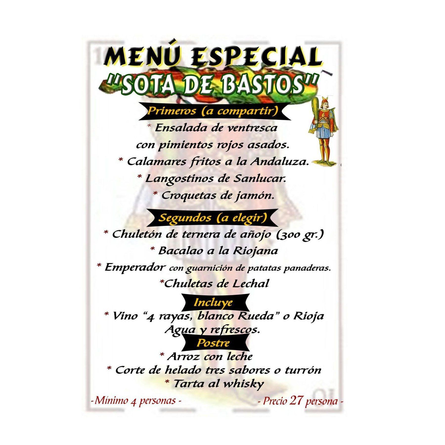Menú Sota de Bastos: Especialidades de Restaurante Bodegón Ciri