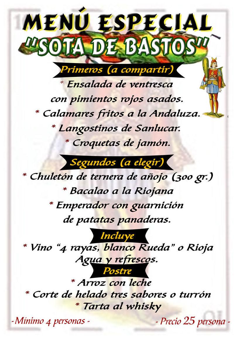 Menú especial Restaurante Bodegón Ciri